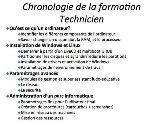 Screenshot du powerpoint de formation des Techniciens