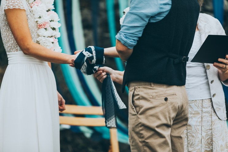 Handfasting at a humanist wedding