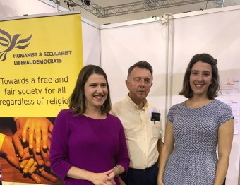 Public Affairs Manager Karen Wright with Jo Swinson MP, Leader of the Liberal Democrats at the Liberal Democrats Party Conference
