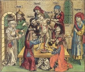 Simon von Trents martyrium. Tresnitt fra 1493 som forestiller et jødisk ritualmord. Foto: Wikimedia Commons.