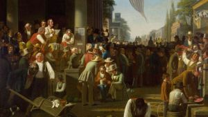 """George Caleb Binghams """"The Verdict of the People"""" fra 1855, ble valgt ut til å henge bak presidentens bord ved Trumps innsettelseslunch. Ifølge historikere viser det folkelige reaksjoner på på valget av en politiker som støttet slaveriet. Valget skapte skarpe reaksjoner."""