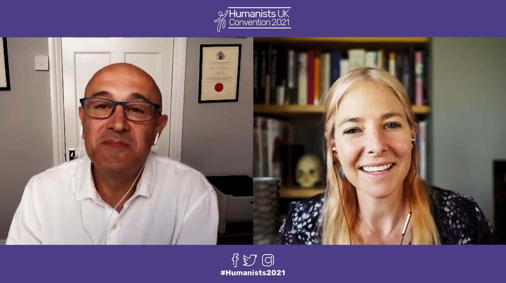 Jim Al-Khalili (L) and Alice Roberts (R) speaking at Humanists UK Convention 2021