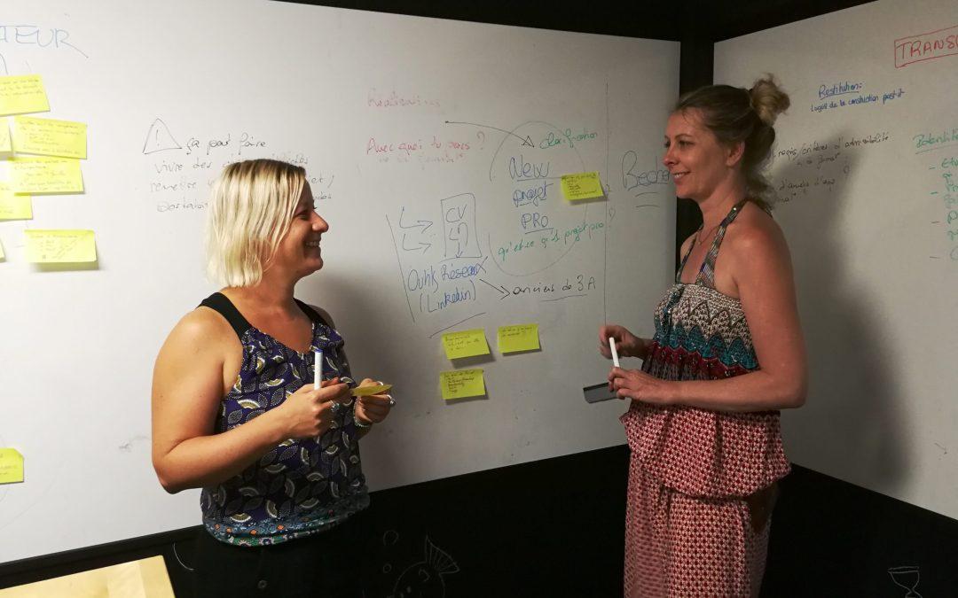 Les facilitatrices en intelligence collective en pleine séance de créativité et d'innovation