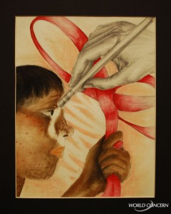 Erase: World AIDS Day art display for humanitarian organization World Concern.
