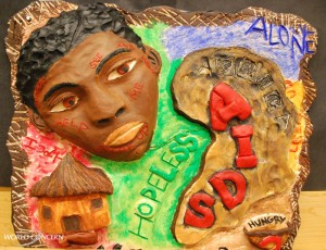 Face: World AIDS Day art display for humanitarian organization World Concern.