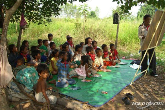 Humanitarian organization World Concern teaches children about the dangers of child trafficking.
