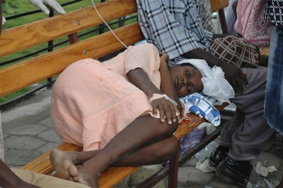 A woman with cholera in Haiti.