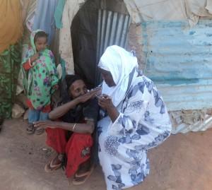 Helping a woman in Somalia