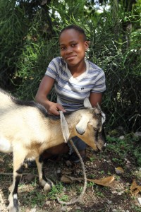Fania receives a goat in Haiti which allows her to continue her education