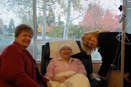 Reneé Smith (right) and her mom, Rosalie Miller (left) surrounded Patti with love and support during chemotherapy treatments.