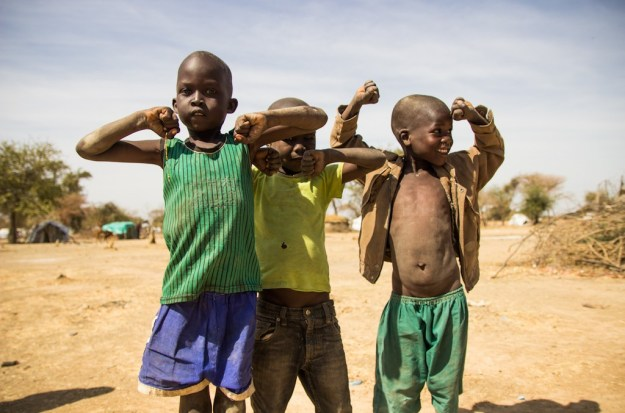 Flex! Young boys in South Sudan show their resilience in the midst of difficult circumstances.