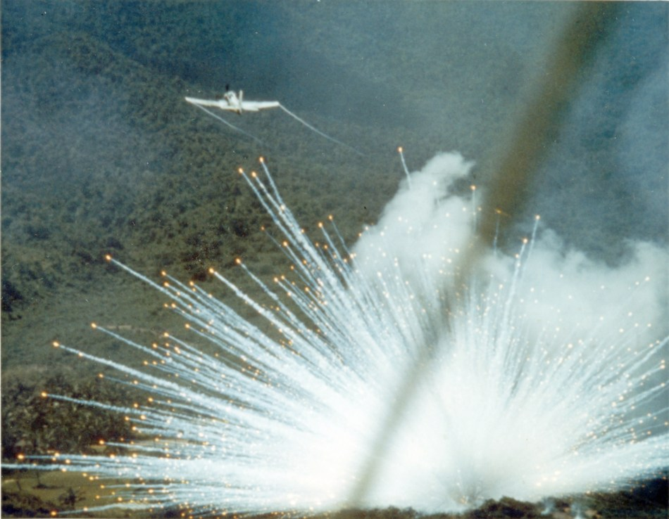 Explosion of an incendiary weapon.