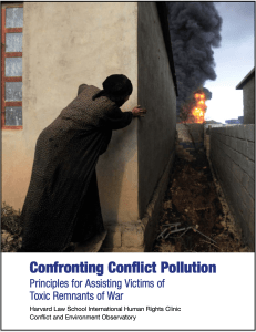 Confronting Conflict Pollution Report Cover, which shows a woman looking around the edge of a building at an explosion