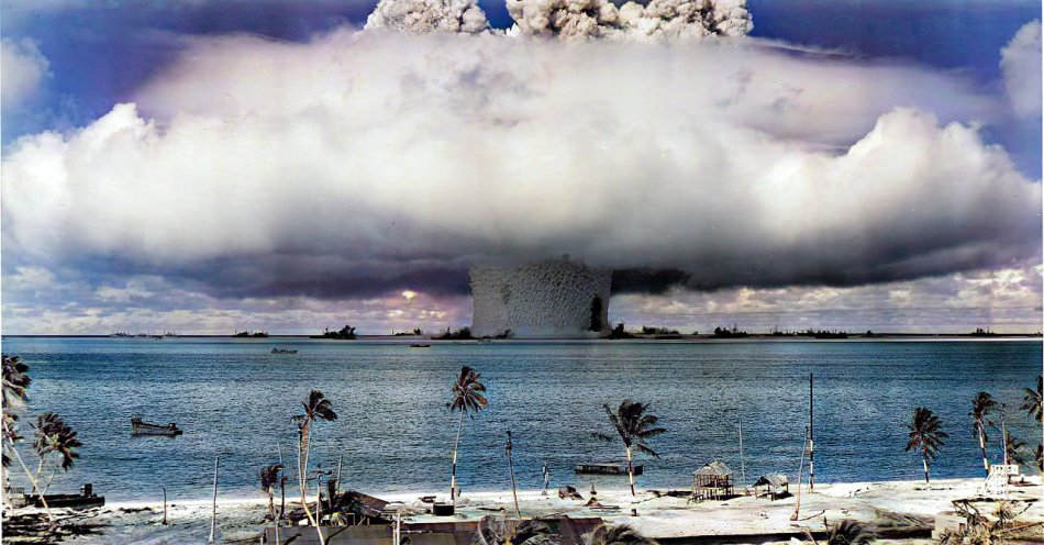 Image of first nuclear weapons test conducted by the US in the pacific 75 years ago.