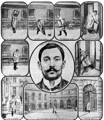 PARIS - 1911: This reconstruction shows how Vincenzo Peruggia perpetrated what has been described as the greatest art theft of the 20th century. The former Louvre worker walked into the museum one day and, noticing the room containing the Mona Lisa had no guards or visitors, took the painting off its pegs, removed it from the frame, and walked out of the Louvre with it under his arm. (Photo by Roger-Viollet/Getty Images)