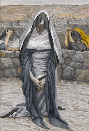 This beautiful artwork by J. Tissot shows the Virgin Mary kneeling on Mt. Calvary and praying. She looks down at the hole that held the Cross of her Son, Jesus Christ. She embodies the forsaking of self, allowing the personal ascendancy of God within one's life