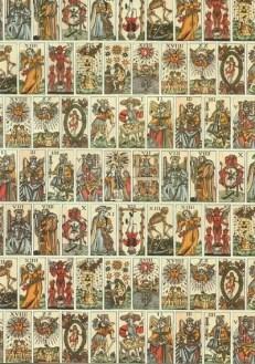 A series of antique tarot cards