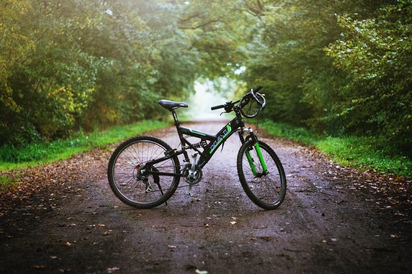 Mountain bike in road