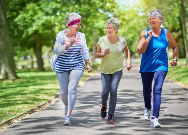 Elderly ladies running to get fit and stay fit