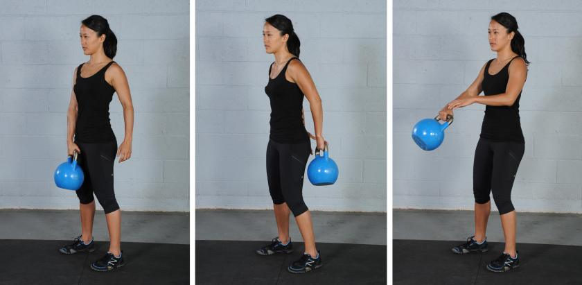 Around the body pass, kettlebell exercise
