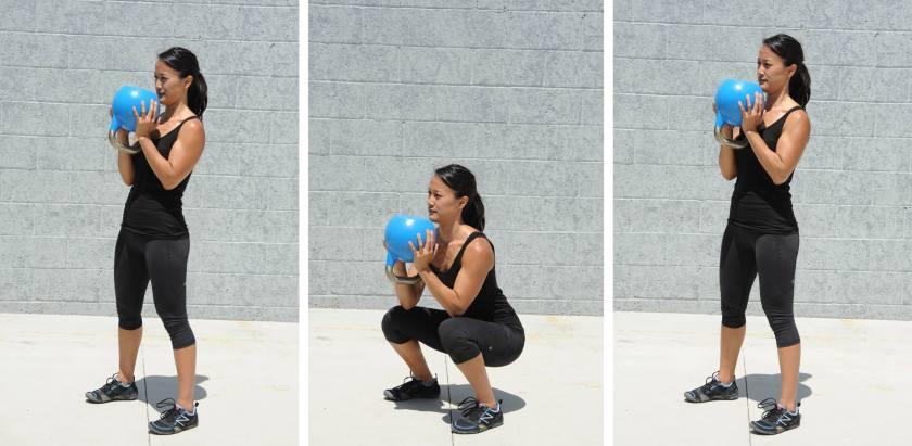 Goblet Squat, kettlebell exercises for fat loss