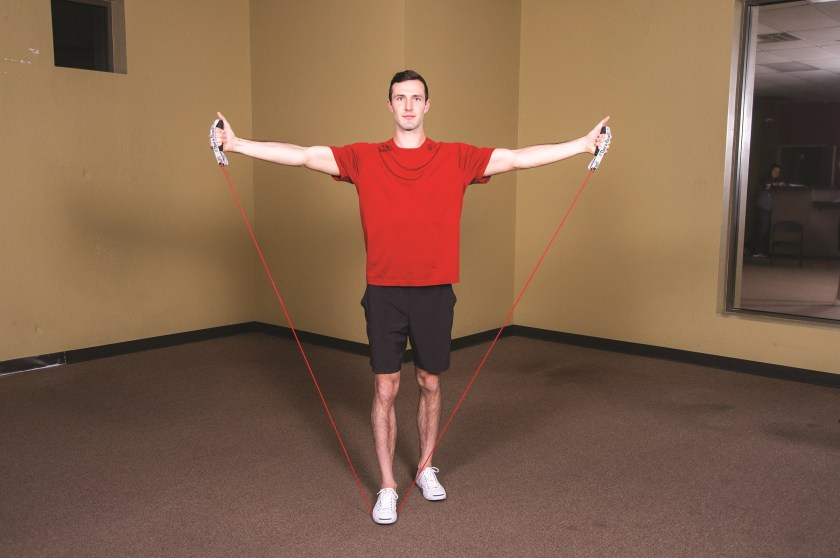 Lat Raise finish position Best Resistance Band Workouts for Shoulders