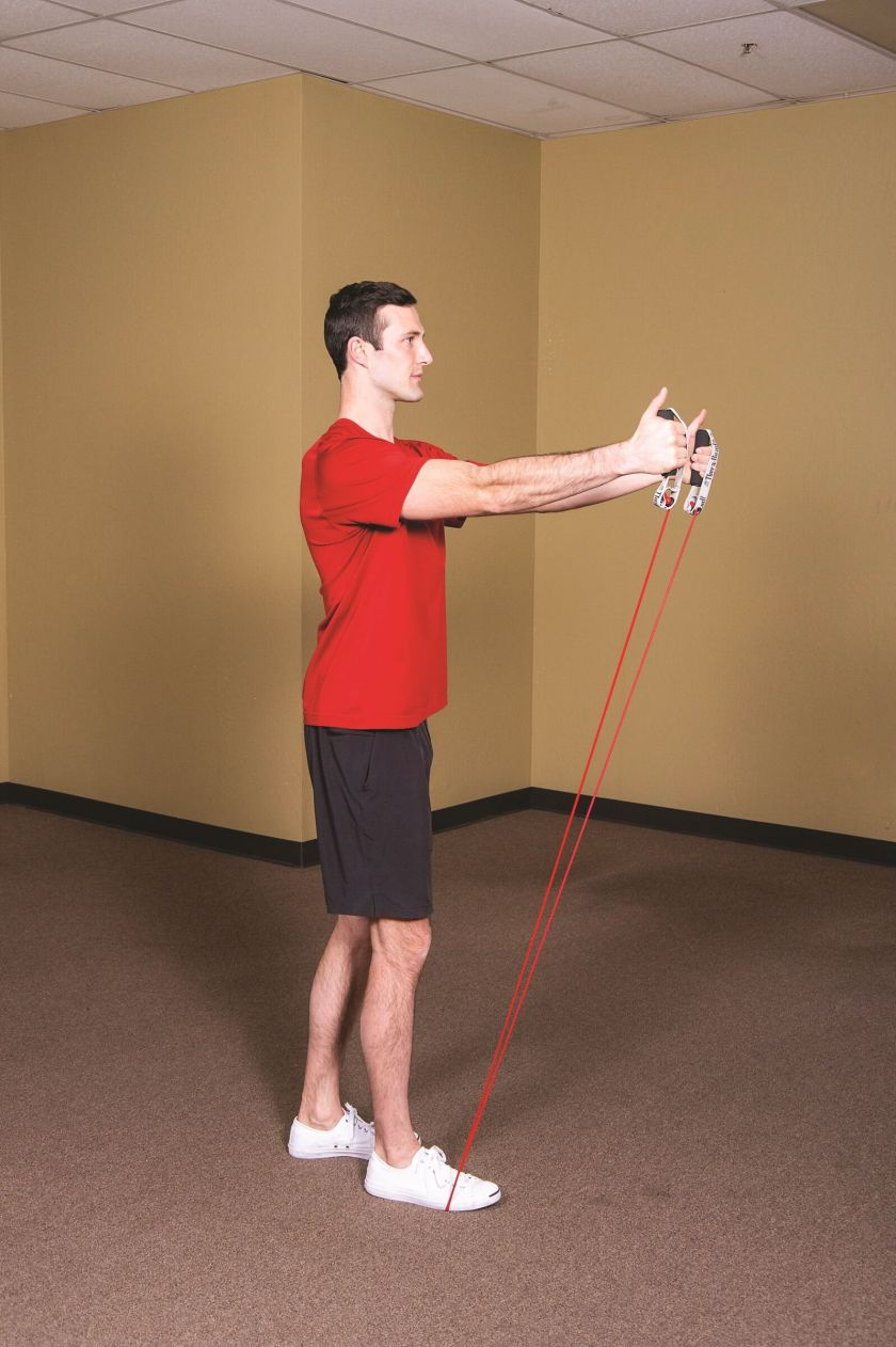 Best Resistance Band Workouts for Shoulders-  front raise finish position