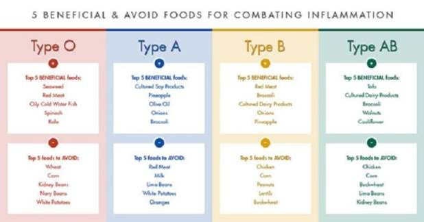 THE BLOOD TYPE DIET CHART