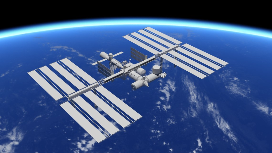 the ISS with the curvature of the earth