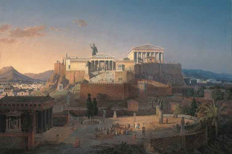 painting of ancient athens featuring a view of the acropolis