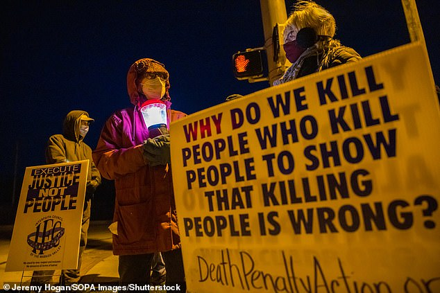 protesters outside U.S. Penitentiary in Terre Haute site of federal and military executions