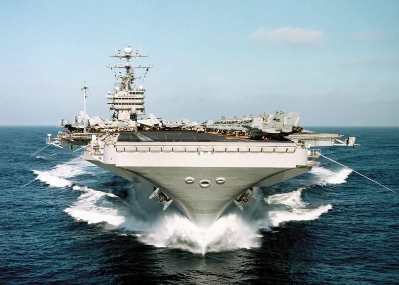 head on view of US aircraft carrier