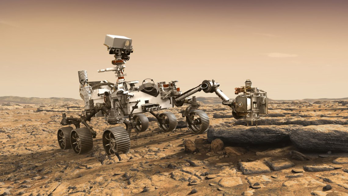 artist's impression of perseverance rover on Mars
