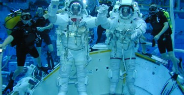 astronauts in training pool