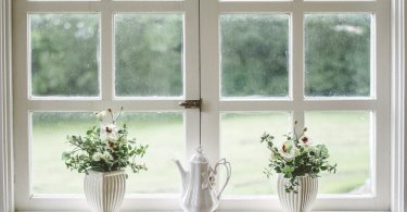 window with white frames