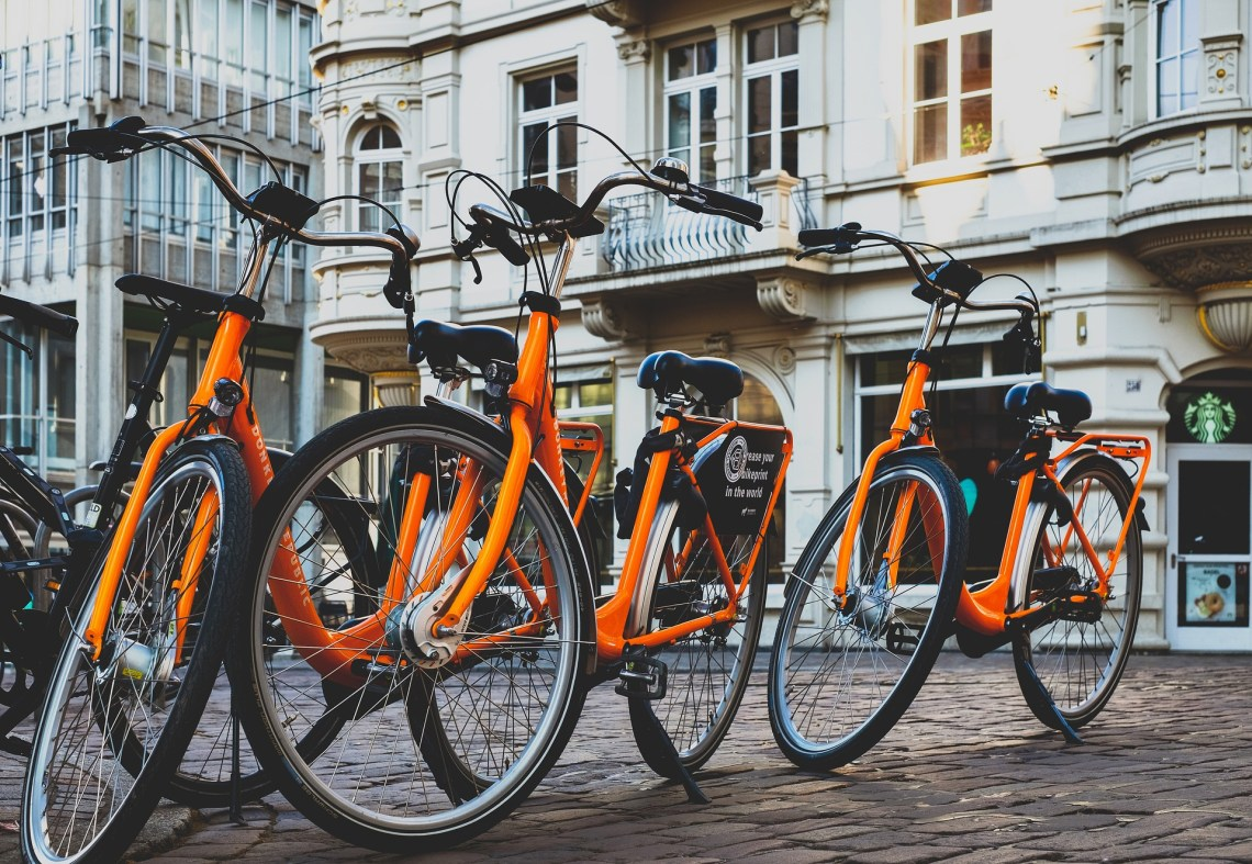 parked bikes in city
