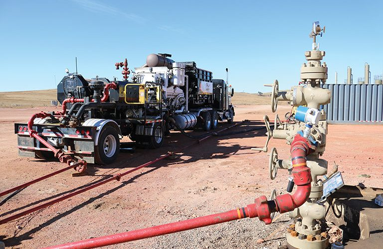 water injection system at fracking well