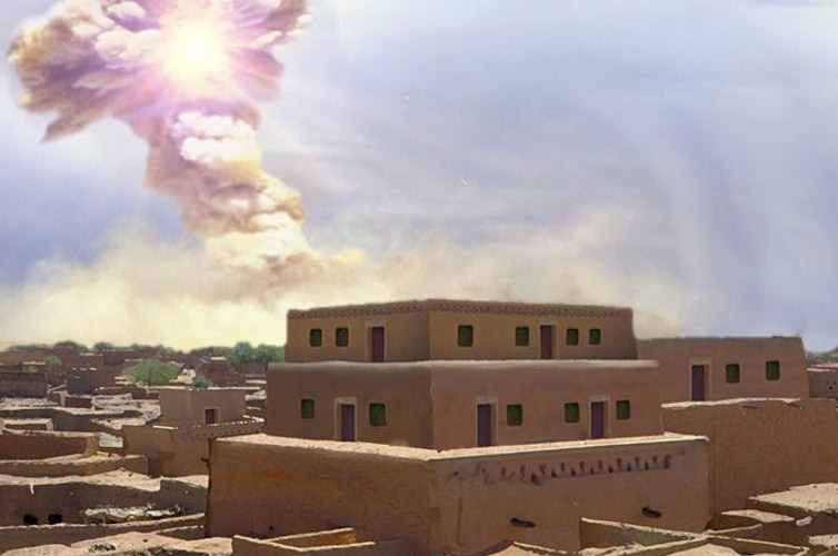 illustration of meteor fireball approaching ancient city