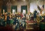 USA:n perustuslain allekirjoitustilaisuus Philadelphiassa.