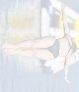 female diver in mid flight