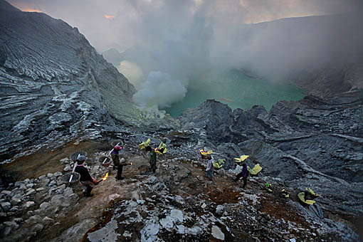 Emerging from the crater, Ijen Sulphur Mine, East Java, Indonesia
