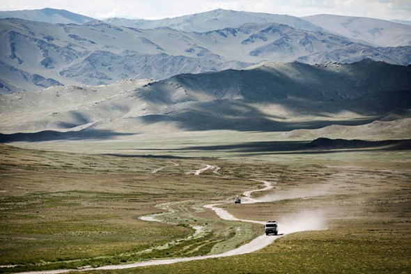 A typical road in Western Mongolia.