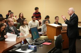 Photo of Judge Fausto Pocar presenting in front of students at USC Gould in 2015