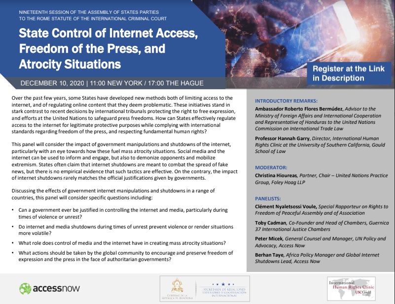 EVENT: State Control of Internet Access, Freedom of Press, and Atrocity Situations