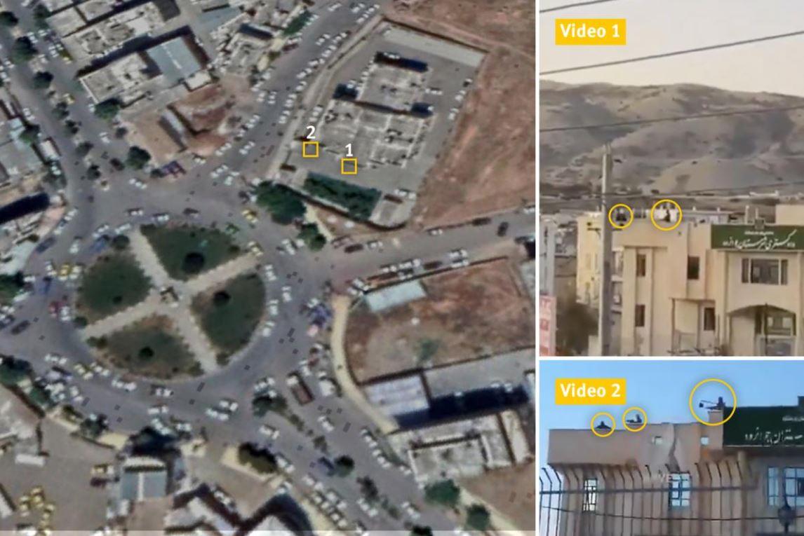 چپ: عکس ماهوارهای از جوانرود در استان کرمانشاه، ضبط شده در ۱۲ ژوئن ۲۰۱۹، نشاندهنده محل دادگاه. راست: تصویر لحظاتی از ویدیوهای منتشرشده در توییتر در ۱۸ نوامبر ۲۰۱۹ که سه نفر در حال شلیک به پایین از بام دادگاه را نشان میدهند.