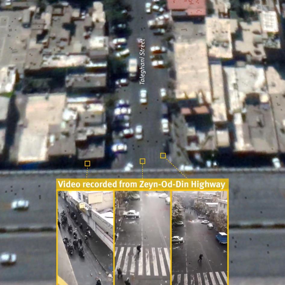 تصویر ماهوارهای خیابان طالقانی تهران گرفته شده در ۲۶ سپتامبر ۲۰۱۹ و لحظاتی از یک ویدیوی ضبطشده در این موقعیت که در ۱۷ نوامبر در شبکههای اجتماعی منتشر شد. ویدیو نیروهای امنیتی جمعشده در یک خیابان فرعی، و ورود یکی از آنها به خیابان طالقانی و شلیک به سمت معترضان را نشان میدهد تصویر ماهوارهای: ۲۶ سپتامبر ۲۰۱۹ © ۲۰۲۰