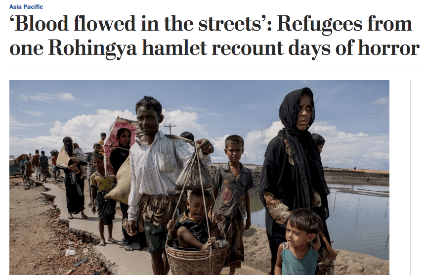 Blood flowed in the streets: Refugees from one Rohingya hamlet recount days of horror & Everyone has parents but us