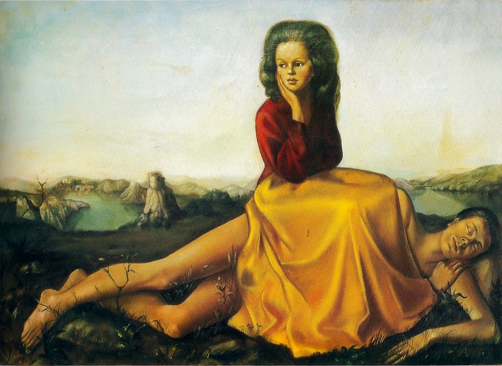 Schilderij van Leonor Fini, surrealistische schilder. E zijn een vrouw in een rotsachtig landschap. Ze draagt een rode trui en een gele lange rok. Ze lijkt te zitten op een androgyne slapend figuur. Met haar rechterhand ondersteunt ze haar hoofd en leunt ze naar rechts. Afbeelding voor de tentoonstelling over Moesman, in kader van Internationale Vrouwendag 2020.