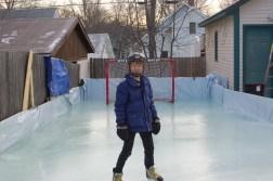 February: Backyard hockey rink.