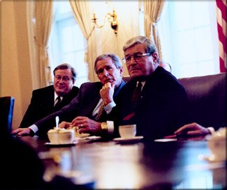Phil Crane, Right, Meets With President George W. Bush And Representative Bill Thomas Of Committee On Ways And Means.
